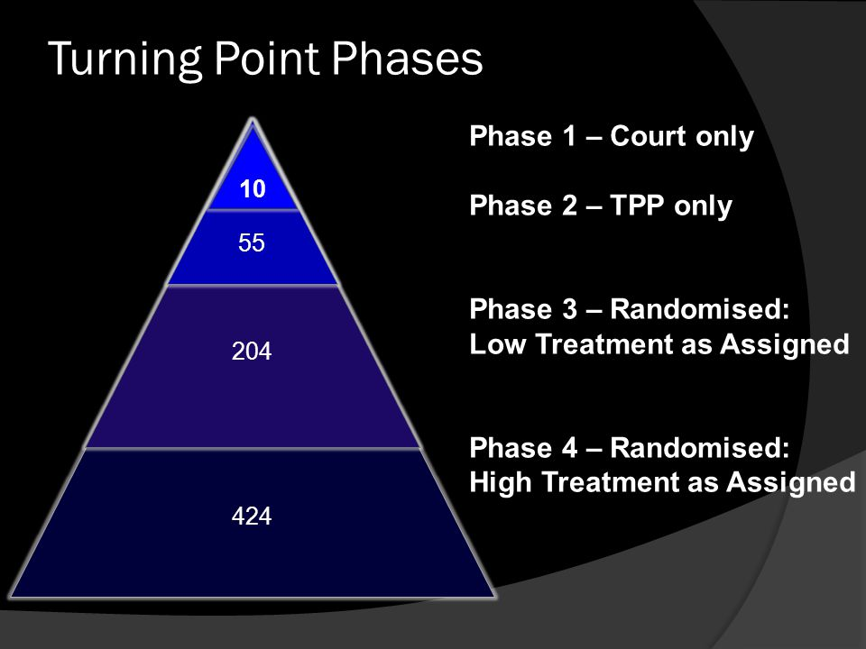 Turning Point Phases 424 204 55 10 Phase 1 – Court only Phase 2 – TPP only Phase 3 – Randomised: Low Treatment as Assigned Phase 4 – Randomised: High
