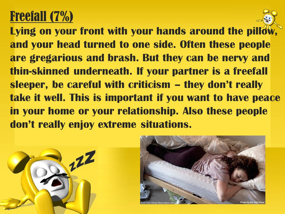 Freefall (7%) Lying on your front with your hands around the pillow, and your head turned to one side.