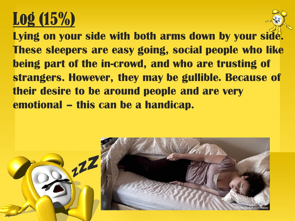Log (15%) Lying on your side with both arms down by your side.