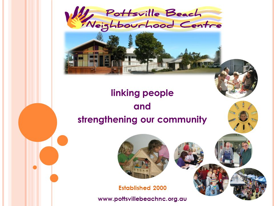 linking people and strengthening our community Established 2000 www.pottsvillebeachnc.org.au