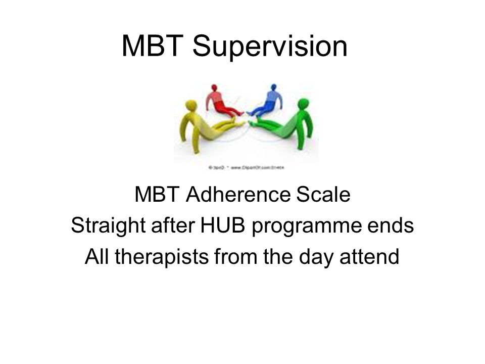 MBT Supervision MBT Adherence Scale Straight after HUB programme ends All therapists from the day attend