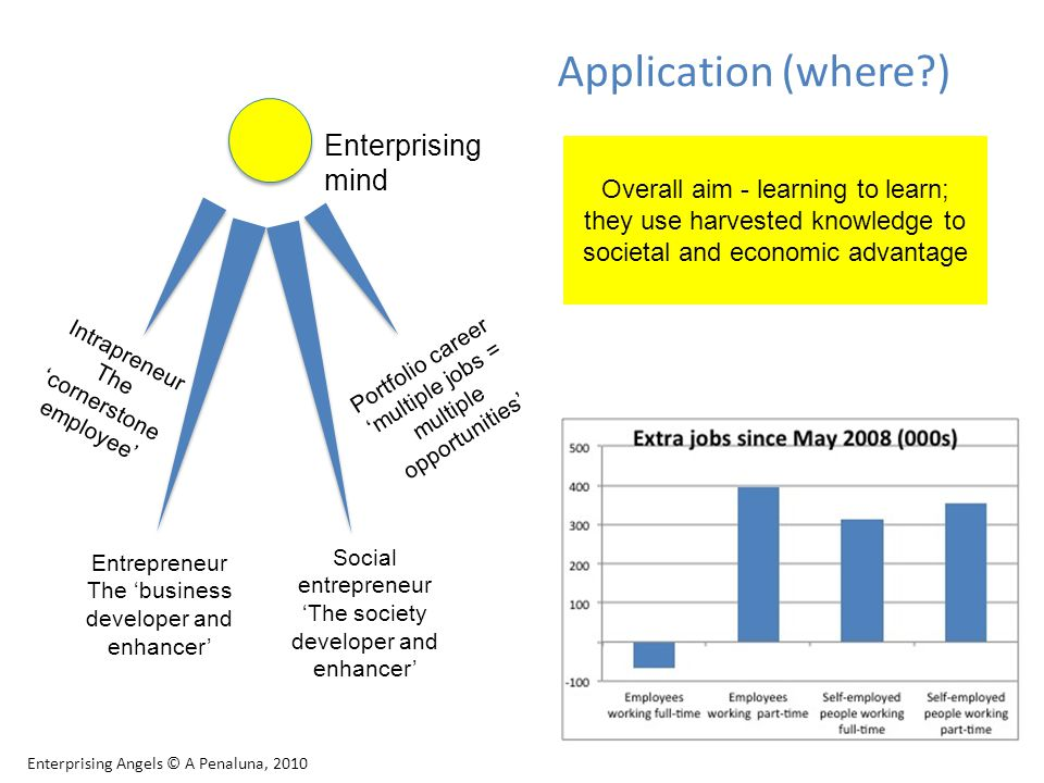 Application (where ) Enterprising Angels © A Penaluna, 2010 Intrapreneur The 'cornerstone employee' Portfolio career 'multiple jobs = multiple opportunities' Enterprising mind Entrepreneur The 'business developer and enhancer' Social entrepreneur 'The society developer and enhancer' Overall aim - learning to learn; they use harvested knowledge to societal and economic advantage