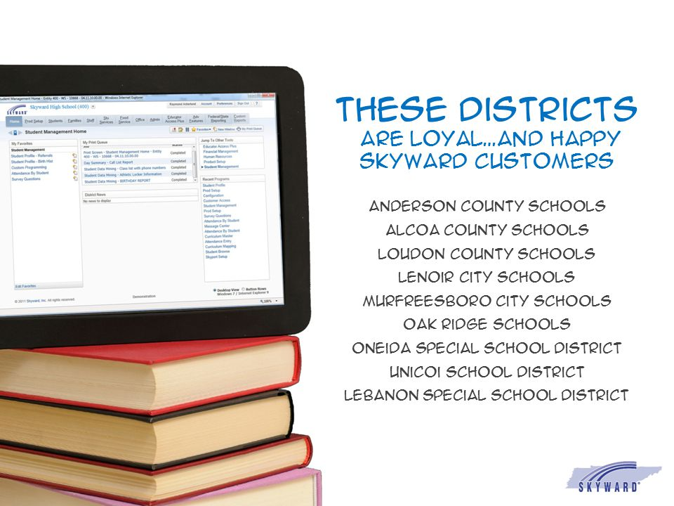 These districts are loyal…and happy skyward customers Anderson county schools Alcoa county schools Loudon county schools Lenoir city schools Murfreesb
