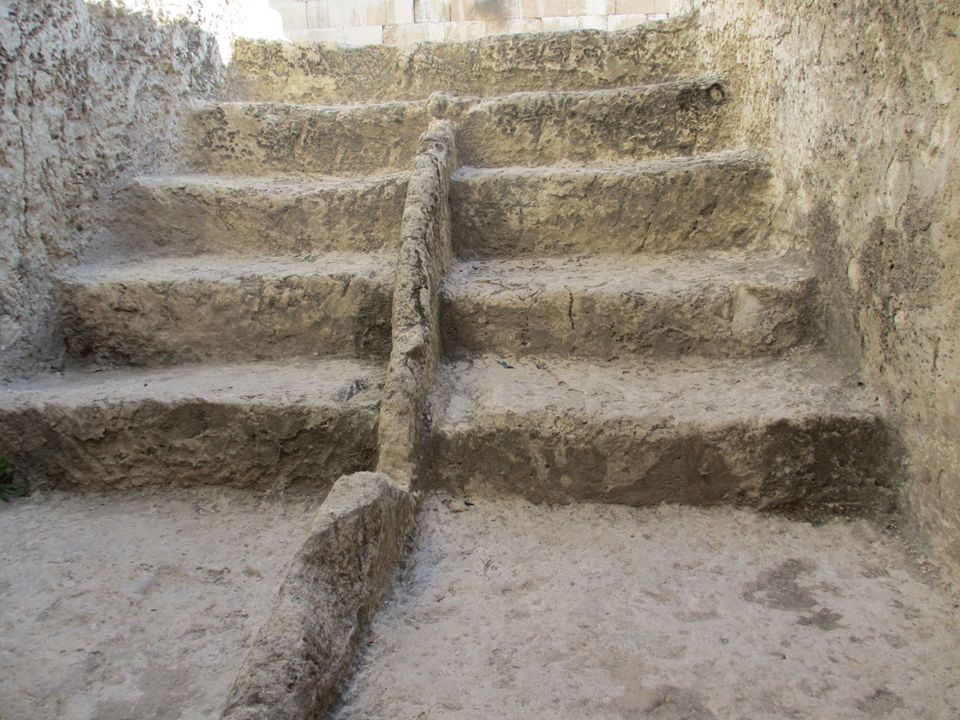 Ancient Jewish Mikveh: I washed in the Pool of David, going down by one staircase and coming up by another.
