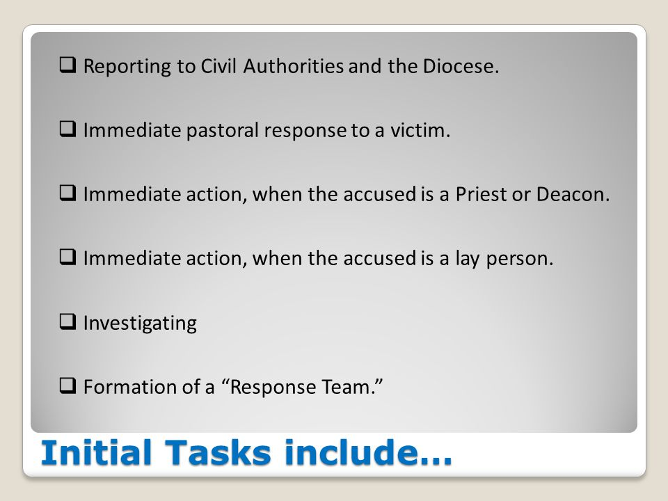 Initial Tasks include…  Reporting to Civil Authorities and the Diocese.