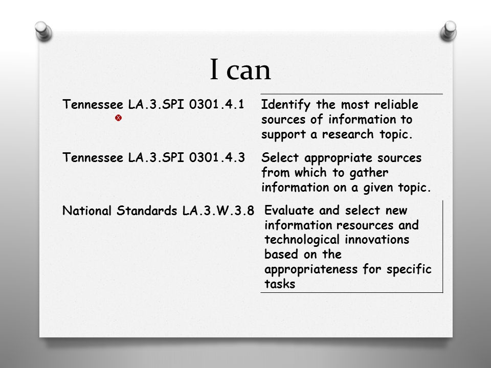 I can Tennessee LA.3.SPI 0301.4.1Identify the most reliable sources of information to support a research topic.