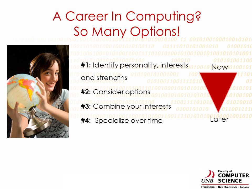 #1: Identify personality, interests and strengths #2: Consider options #3: Combine your interests #4: Specialize over time A Career In Computing.