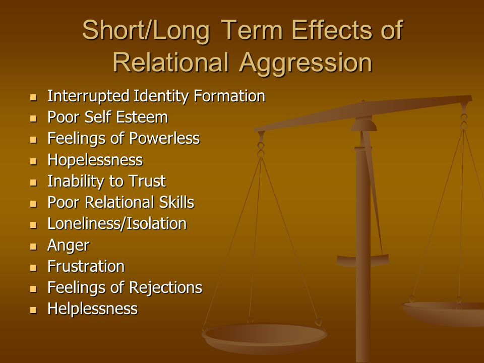 Short/Long Term Effects of Relational Aggression Interrupted Identity Formation Interrupted Identity Formation Poor Self Esteem Poor Self Esteem Feelings of Powerless Feelings of Powerless Hopelessness Hopelessness Inability to Trust Inability to Trust Poor Relational Skills Poor Relational Skills Loneliness/Isolation Loneliness/Isolation Anger Anger Frustration Frustration Feelings of Rejections Feelings of Rejections Helplessness Helplessness