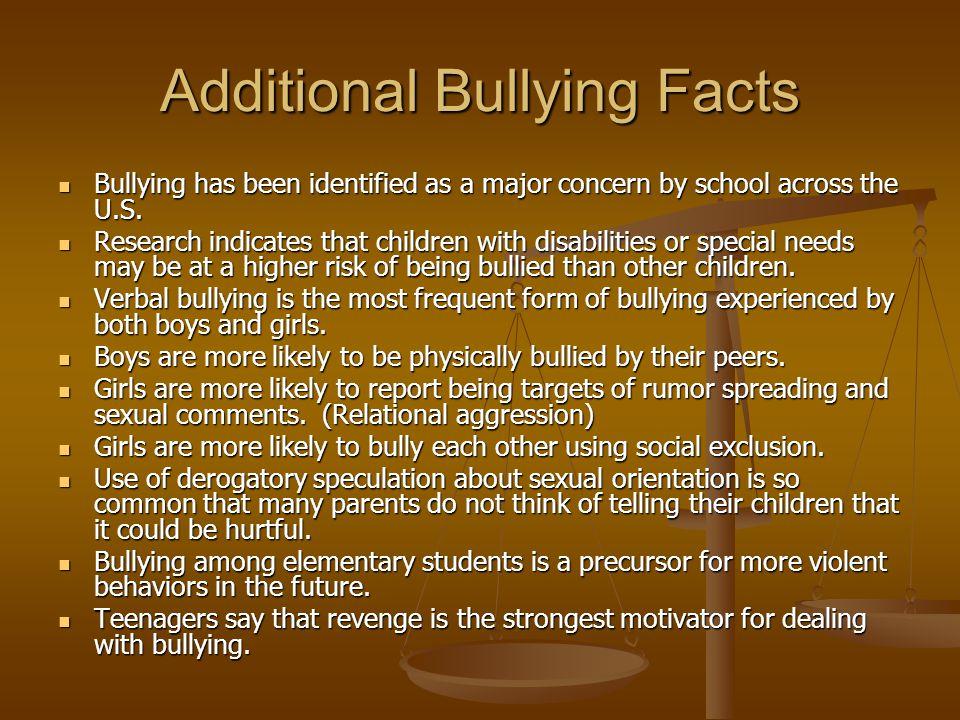 Additional Bullying Facts Bullying has been identified as a major concern by school across the U.S.