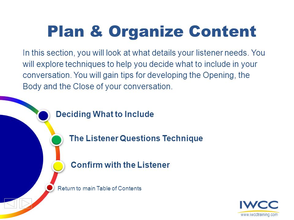 Plan & Organize Content In this section, you will look at what details your listener needs. You will explore techniques to help you decide what to inc