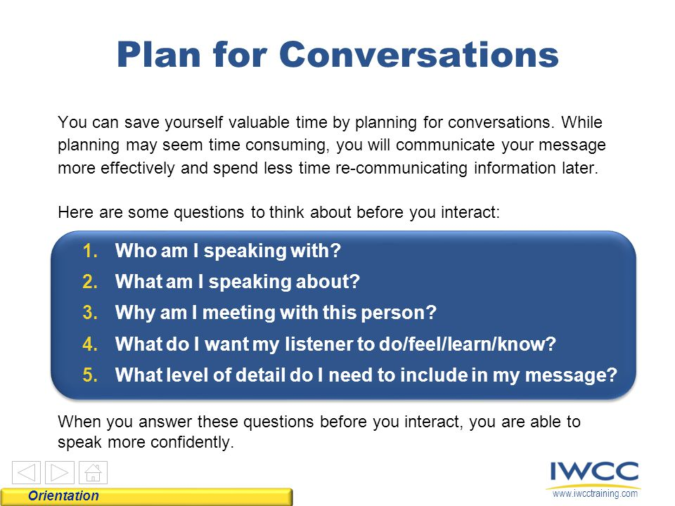 www.iwcctraining.com Use questions Listen actively Respond appropriately Orientation Plan for Conversations You can save yourself valuable time by pla