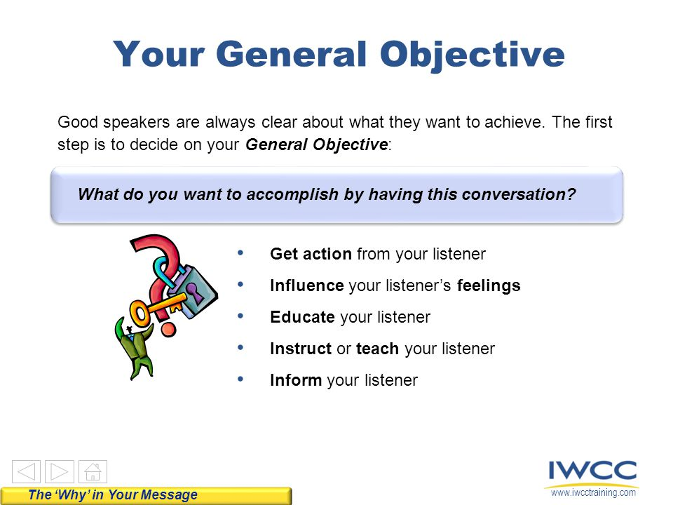 www.iwcctraining.com Use questions Listen actively Respond appropriately The Listener Questions Technique Rather than asking yourself, What do I want to tell my listener? give your listener the specific information they need.
