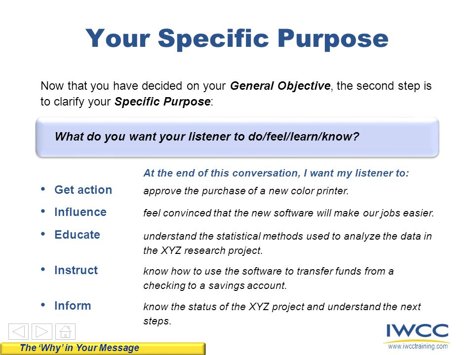 www.iwcctraining.com Now, it's your turn.Circle the General Objective for your next conversation.