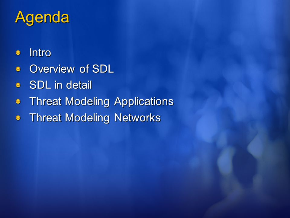 Education Example classes: Security Basics Reviewing Code for Security Bugs Implementing Threat Mitigations Classes of Defects Secure Design Principles Using Crypto Web-related Security Bugs Fuzzing Threat Modeling Many, many more… Have all staff review the 'Basics' on the SDL book CD.