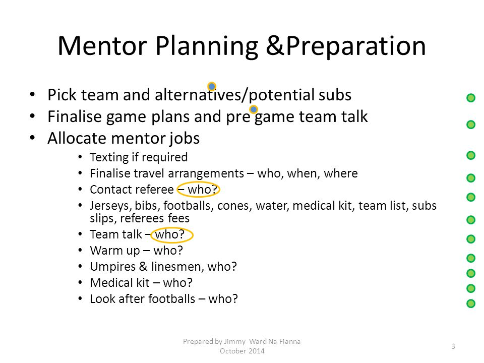 Mentor Planning &Preparation Pick team and alternatives/potential subs Finalise game plans and pre game team talk Allocate mentor jobs Texting if required Finalise travel arrangements – who, when, where Contact referee – who.