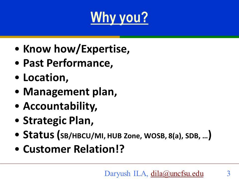 Daryush ILA, dila@uncfsu.edu 4dila@uncfsu.edu Example Customer Relation How well does the customer know you.