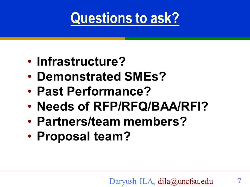 Daryush ILA, dila@uncfsu.edu 8dila@uncfsu.edu Q&A Example: Single PI proposals/contracts Demonstrated SME.