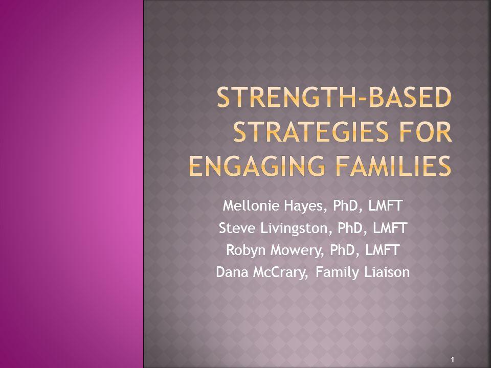 Mellonie Hayes, PhD, LMFT Steve Livingston, PhD, LMFT Robyn Mowery, PhD, LMFT Dana McCrary, Family Liaison 1