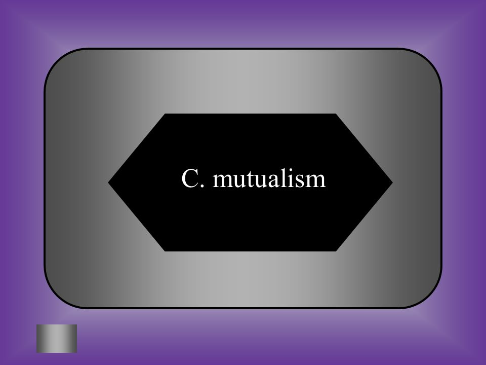 A:B: commensalismparasitism C:D: mutualismmatabolism #8 A symbiotic relationship between to organisms in which both organisms benefit.
