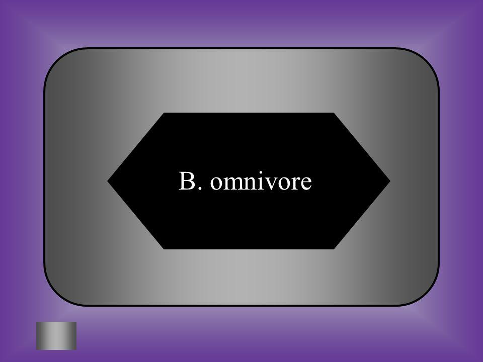 A:B: herbivoreomnivore C:D: carnivoreecoviore #10 Consumers that eat both plants and animals.