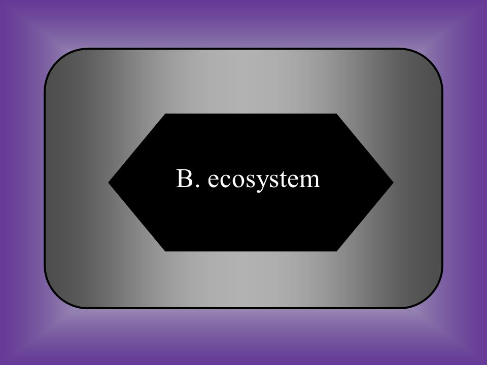 A:B: biosphereecosystem #17 A unit consisting of all the living and nonliving things in a given area that interact with one another. C:D: communitypop