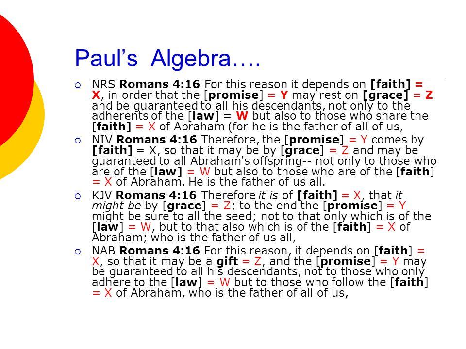 Paul's Algebra….