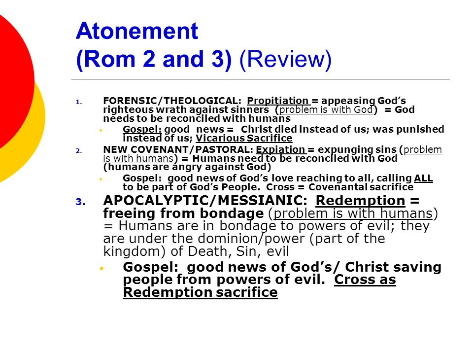 Atonement (Rom 2 and 3) (Review) 1.