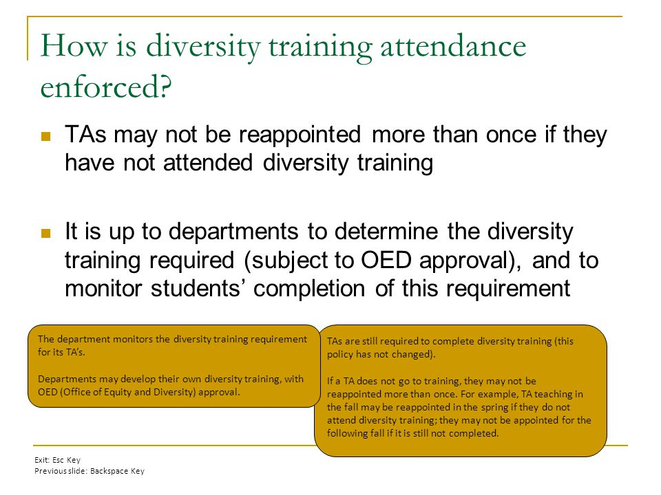 How is diversity training attendance enforced.