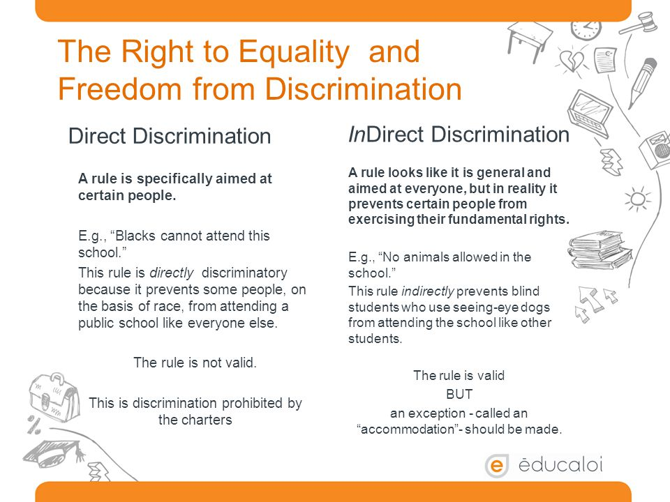 Direct Discrimination A rule is specifically aimed at certain people.