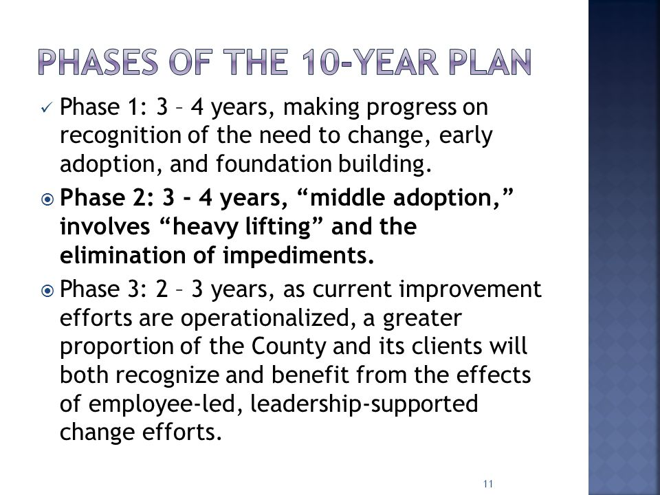 Phase 1: 3 – 4 years, making progress on recognition of the need to change, early adoption, and foundation building.