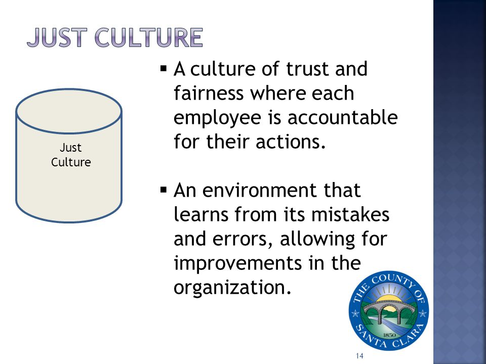 Just Culture 14  A culture of trust and fairness where each employee is accountable for their actions.  An environment that learns from its mistakes