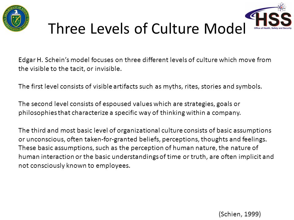 Three levels explained Level One: Artifacts Artifacts provide easily observable clues to the culture of the workplace.