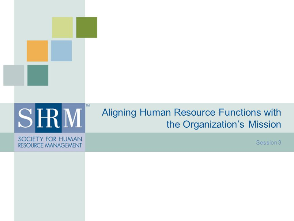 Aligning Human Resource Functions with the Organization's Mission Session 3