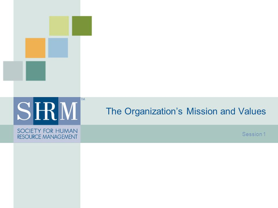 The Organization's Mission and Values Session 1
