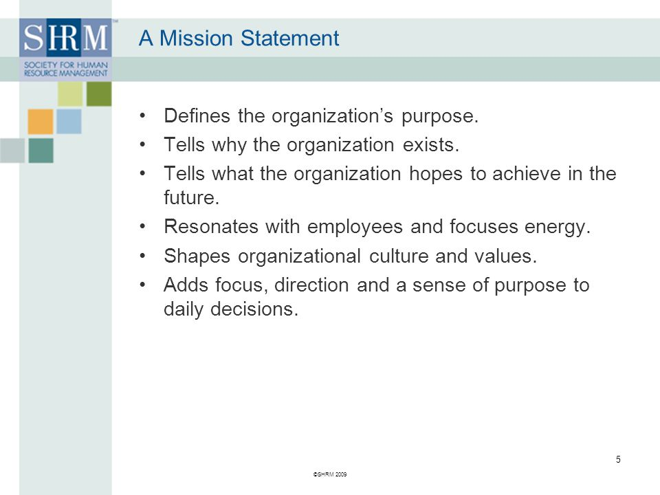 Mission Statement 1.What is the organization's purpose.