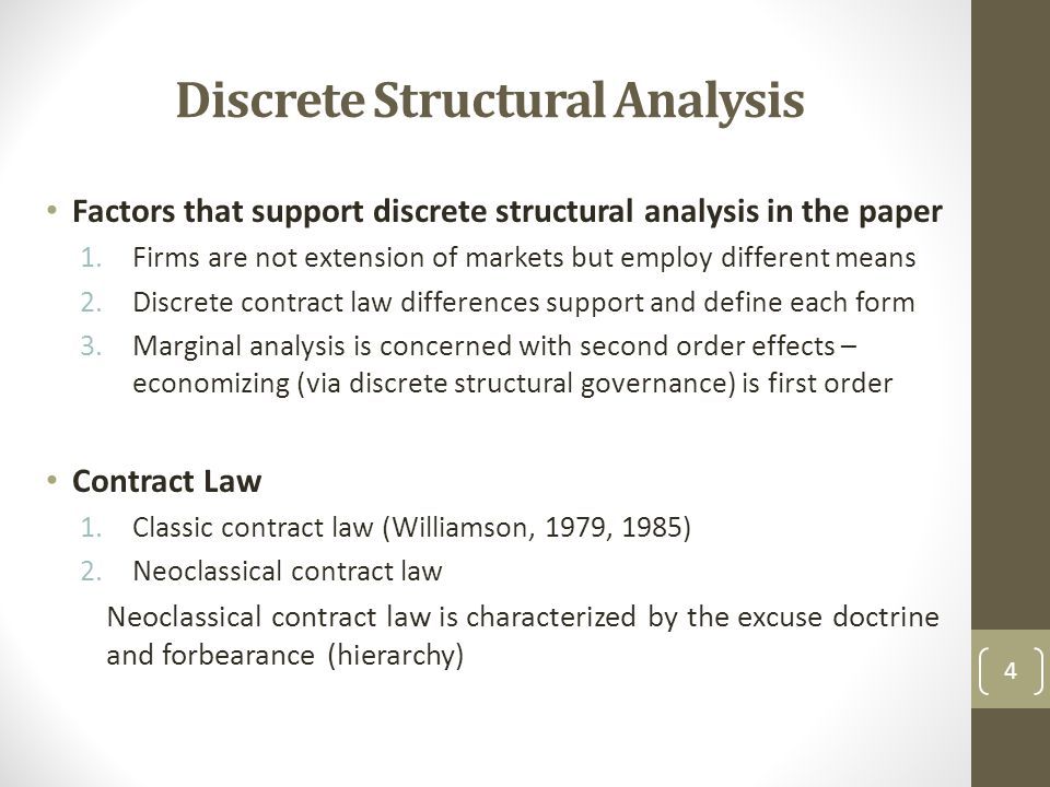 Discrete Structural Analysis Factors that support discrete structural analysis in the paper 1.Firms are not extension of markets but employ different