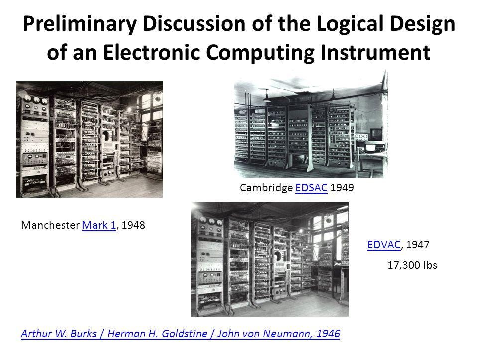 Preliminary Discussion of the Logical Design of an Electronic Computing Instrument Arthur W. Burks / Herman H. Goldstine / John von Neumann, 1946 Manc