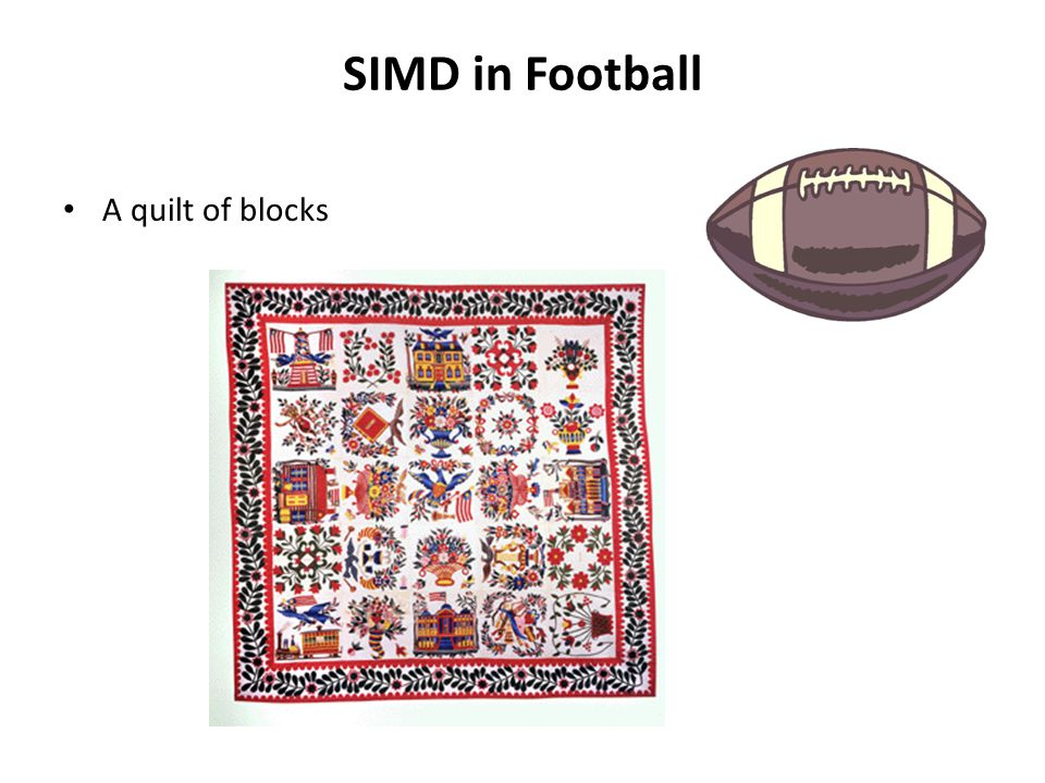 SIMD in Football A quilt of blocks