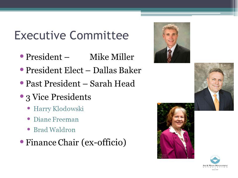 Executive Committee President – Mike Miller President Elect – Dallas Baker Past President – Sarah Head 3 Vice Presidents Harry Klodowski Diane Freeman Brad Waldron Finance Chair (ex-officio)