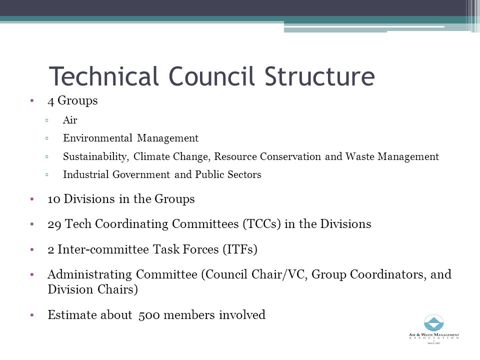Technical Council Structure 4 Groups ▫Air ▫Environmental Management ▫Sustainability, Climate Change, Resource Conservation and Waste Management ▫Industrial Government and Public Sectors 10 Divisions in the Groups 29 Tech Coordinating Committees (TCCs) in the Divisions 2 Inter-committee Task Forces (ITFs) Administrating Committee (Council Chair/VC, Group Coordinators, and Division Chairs) Estimate about 500 members involved