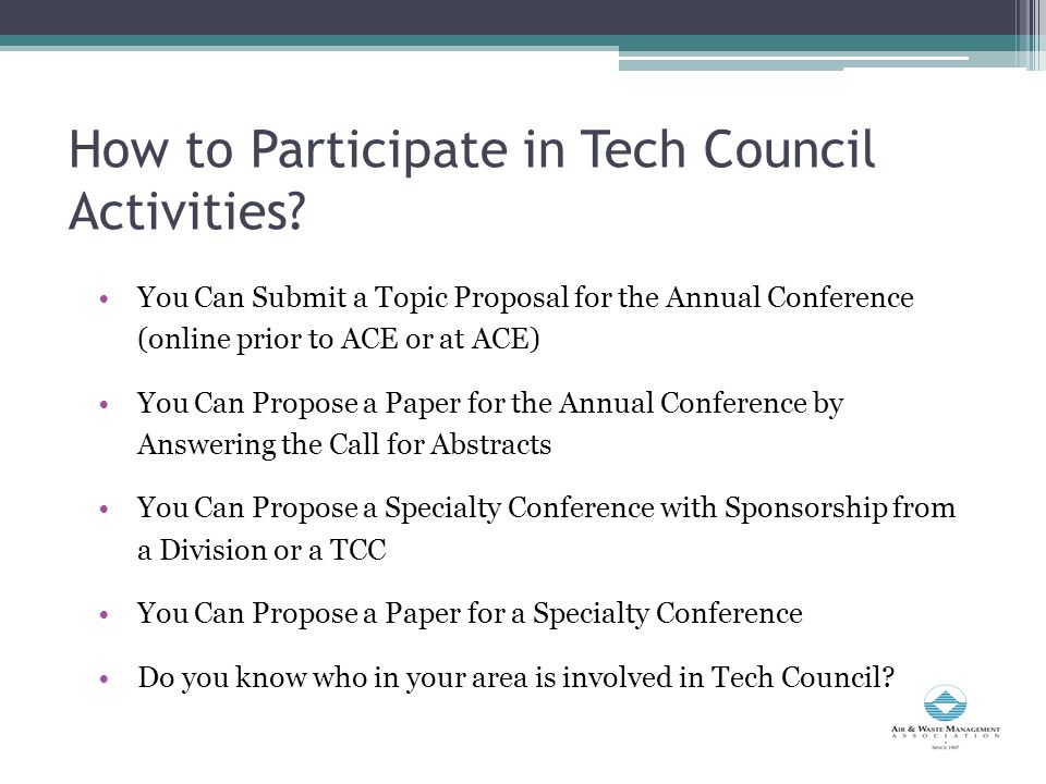 How to Participate in Tech Council Activities.