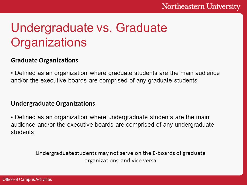 Undergraduate vs. Graduate Organizations Office of Campus Activities Defined as an organization where graduate students are the main audience and/or t