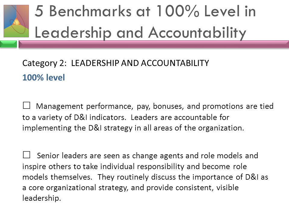 5 Benchmarks at 100% Level in Leadership and Accountability Category 2: LEADERSHIP AND ACCOUNTABILITY 100% level  Management performance, pay, bonuse