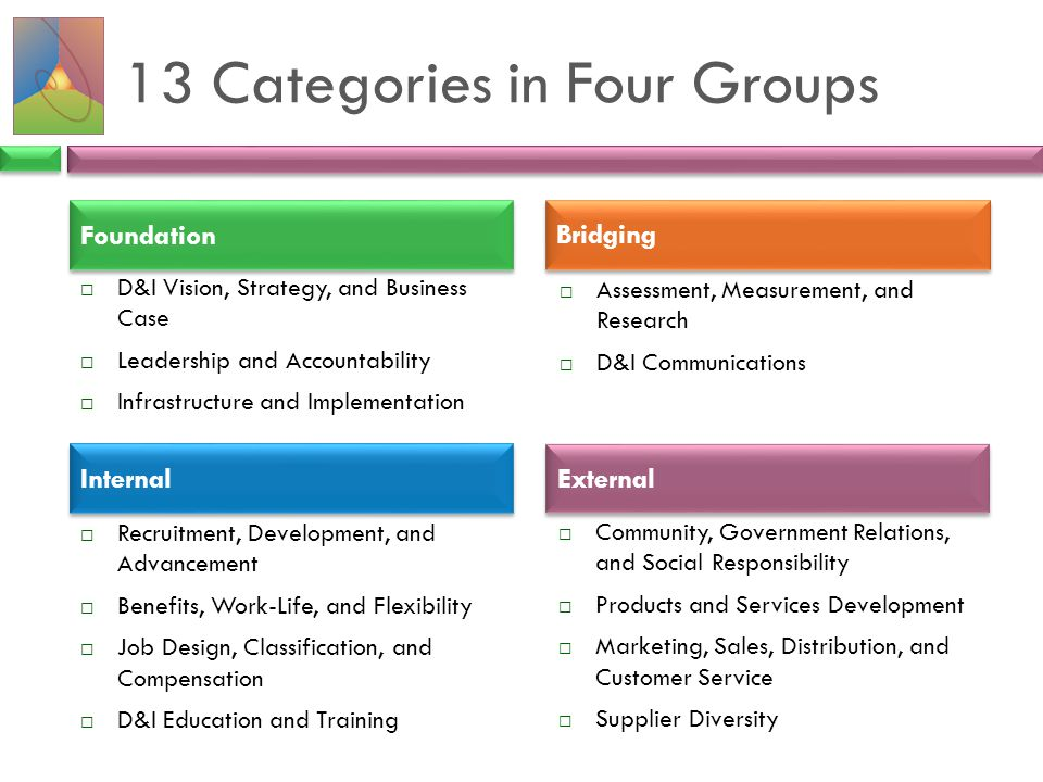 13 Categories in Four Groups  Assessment, Measurement, and Research  D&I Communications  Recruitment, Development, and Advancement  Benefits, Work