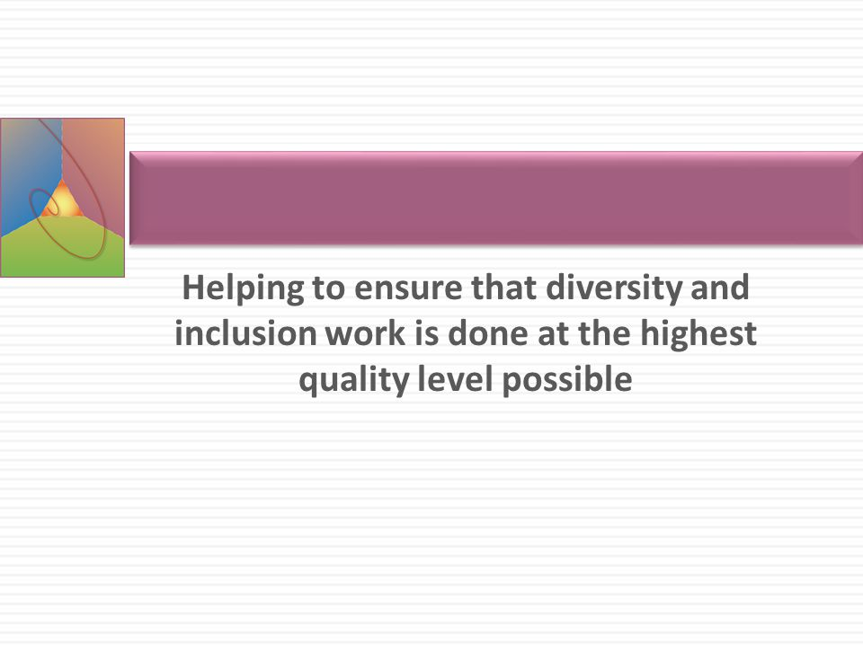 Helping to ensure that diversity and inclusion work is done at the highest quality level possible