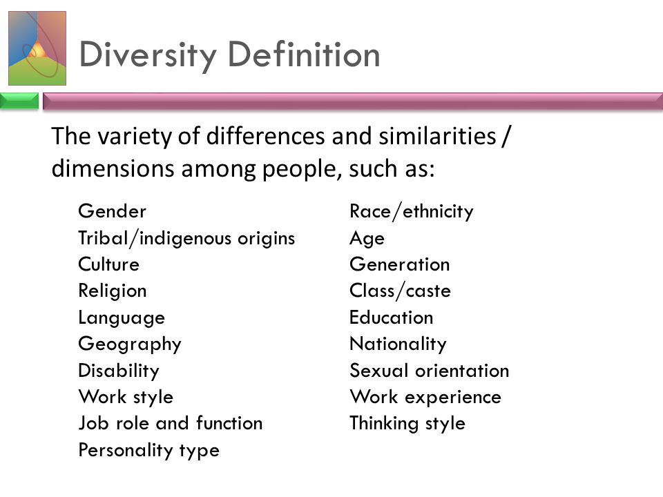 Diversity Definition The variety of differences and similarities / dimensions among people, such as: GenderRace/ethnicity Tribal/indigenous originsAge