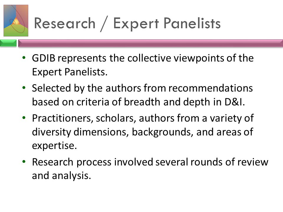 Research / Expert Panelists GDIB represents the collective viewpoints of the Expert Panelists. Selected by the authors from recommendations based on c