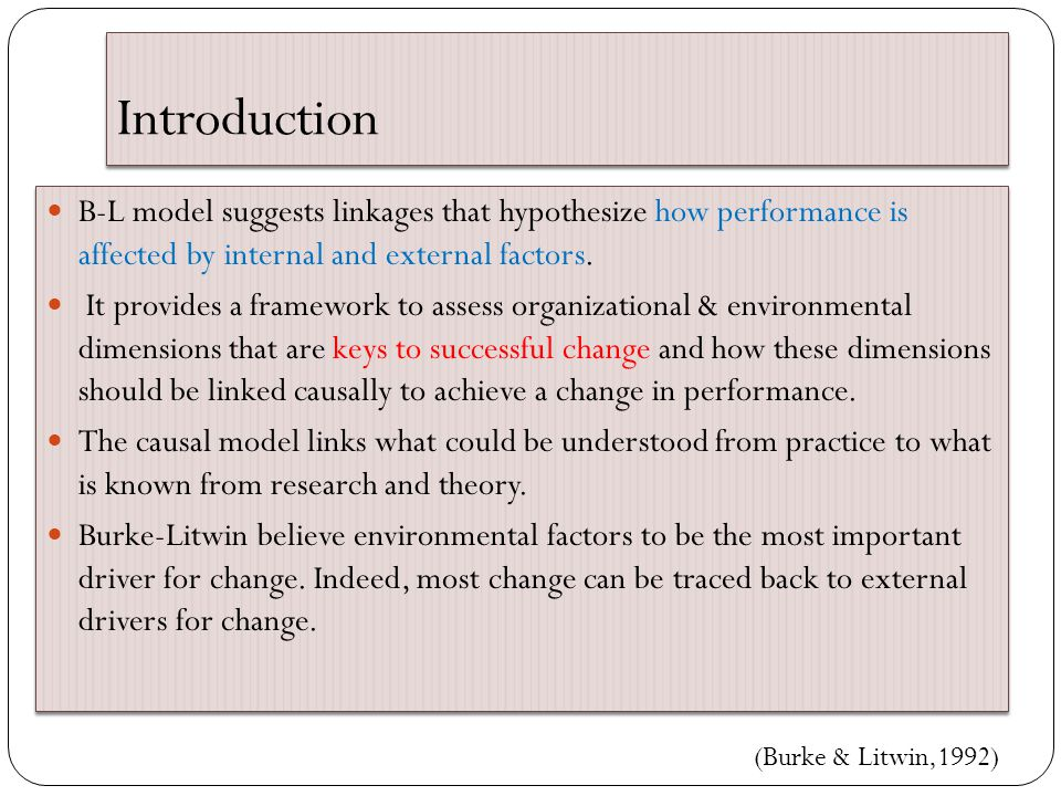 Introduction B-L model suggests linkages that hypothesize how performance is affected by internal and external factors. It provides a framework to ass