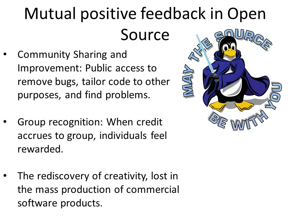 Mutual positive feedback in Open Source Community Sharing and Improvement: Public access to remove bugs, tailor code to other purposes, and find problems.