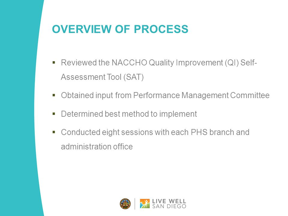 OVERVIEW OF PROCESS  Reviewed the NACCHO Quality Improvement (QI) Self- Assessment Tool (SAT)  Obtained input from Performance Management Committee